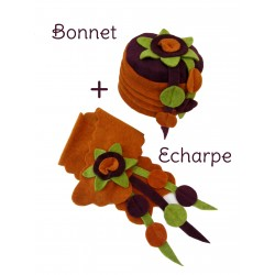 Ensemble bonnet écharpe 2-6A polaire orange prune vert