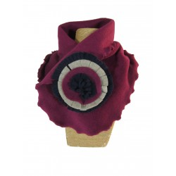 Col en polaire bordeaux, beige, marine - Collection Pompom